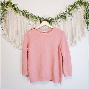 BODEN Lois Pink Knit Button Shoulder 3/4 Sleeve Crewneck Sweater sz M